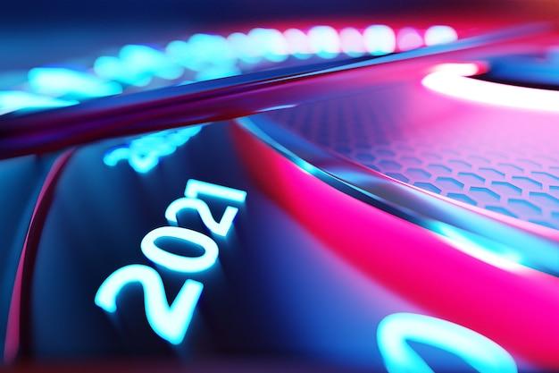 Ilustracja 3d z bliska czarny prędkościomierz z odcięciami 2021