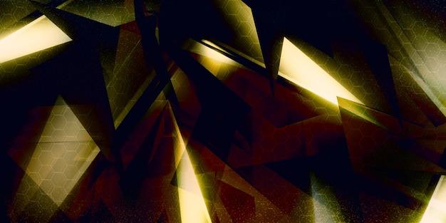 Ilustracja 3d z geometrycznymi kształtami nowa koncepcja technologii i dynamiczny ruch pokaz siły cyfrowy pryzmat, diament, fasetowany kryształ.