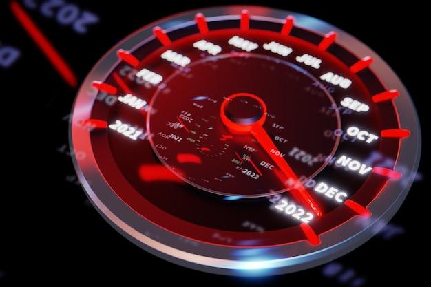Ilustracja 3d zbliżenie panel samochodowy instrument z prędkościomierzem, obrotomierzem, który mówi wesołych świąt 2021, 2022. koncepcja nowego roku i bożego narodzenia w dziedzinie motoryzacji