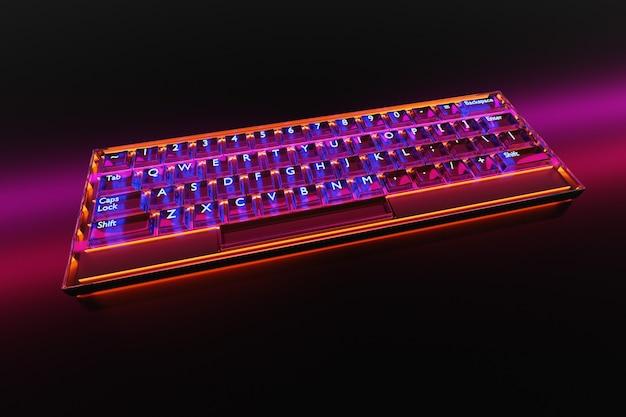 Ilustracja 3d, zbliżenie realistycznej klawiatury komputera lub laptopa z neonowym różowym światłem na czarnym tle