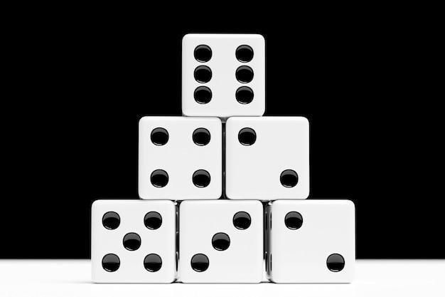Ilustracja 3d zestaw kości do gry, na białym na czarnym tle. projekt kości od jednego do sześciu.