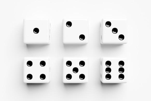 Ilustracja 3d zestaw kości do gry, na białym tle. projekt kości od jednego do sześciu.