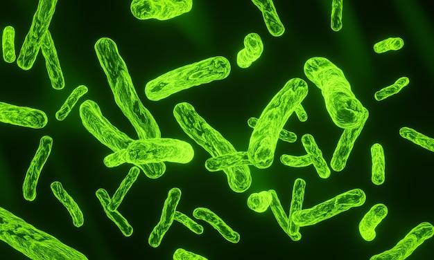 Ilustracja 3d zielone mikroskopijne bakterie