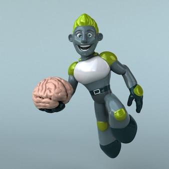 Ilustracja 3d zielony robot