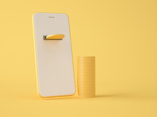 Ilustracja 3d. złote monety na ekranie smartfona.