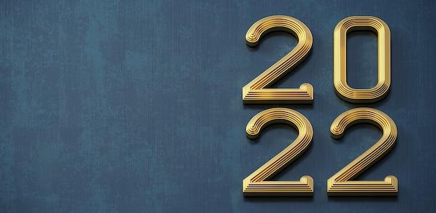 Ilustracja 3d. złoty dżins numer 2022 makieta. nowy rok. tło lub pocztówka. biżuteria. zegarek na tarczy lub kalendarz