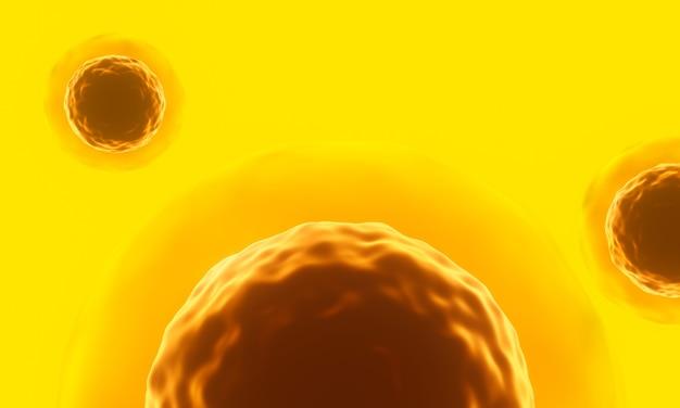 Ilustracja 3d. żółta mikroskopijna komórka.