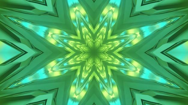 Ilustracja 3d żywego streszczenia tunelu o geometrycznych kształtach świecących zielonym i niebieskim oświetleniem