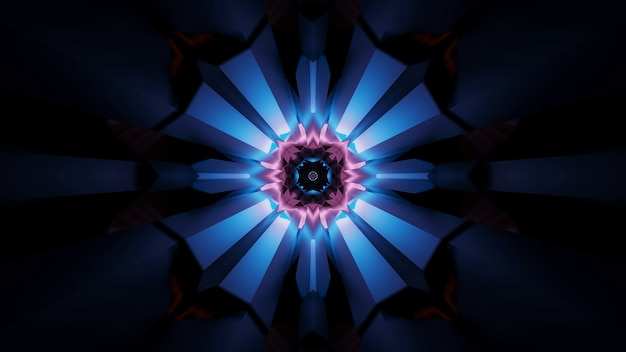 Ilustracja abstrakcyjnych futurystycznych kalejdoskopowych efektów świetlnych z neonów