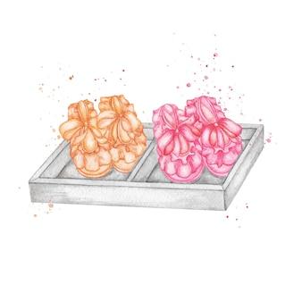 Ilustracja akwarela babyborn. buciki dla noworodka noworodka macierzyństwo. plakat narodzin dziecka dziewczyny