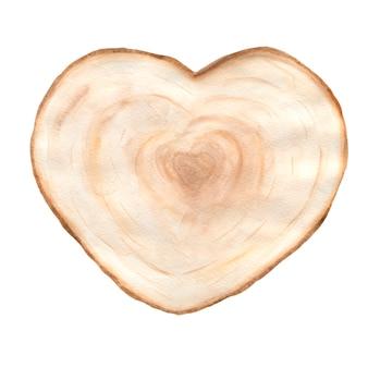Ilustracja akwarela kawałek drewna serca