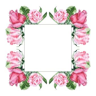 Ilustracja akwarela rysunek różowe róże w ramce
