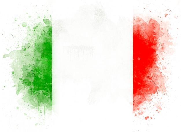 Ilustracja akwarela włoskiej flagi, akwarela flaga włoch na białym tle