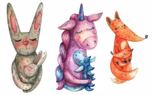 Ilustracja akwareli zwierząt mama z dzieckiem. zając, jednorożec, lis. rodzina.