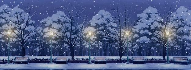 Ilustracja anime nocnego parku.