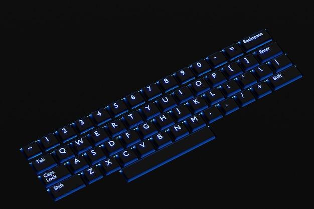 Ilustracja, bliska realistycznej klawiatury komputera lub laptopa z neonowym niebieskim światłem na czarnym tle. klawiatura do gier z podświetleniem led