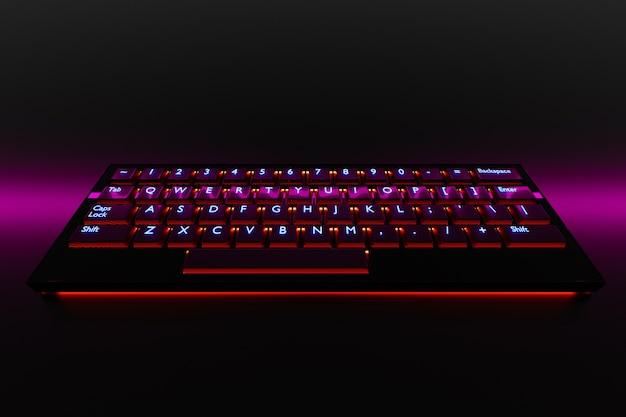 Ilustracja, bliska realistycznej klawiatury komputera lub laptopa z neonowym różowym światłem na czarnym tle.
