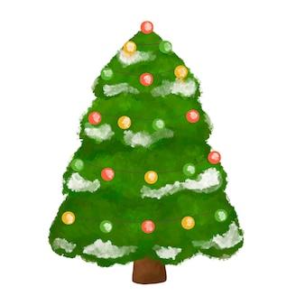 Ilustracja choinki, ozdobiona jodła, świerk na białym tle clipart, wystrój nowego roku