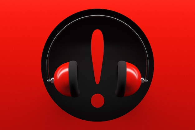 Ilustracja czerwone słuchawki retro z dużym wykrzyknikiem na czerwono