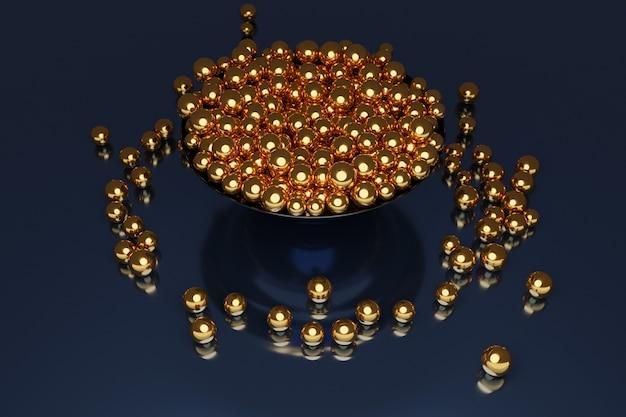 Ilustracja dużego talerza ze złotymi kulkami lecącymi w różnych kierunkach