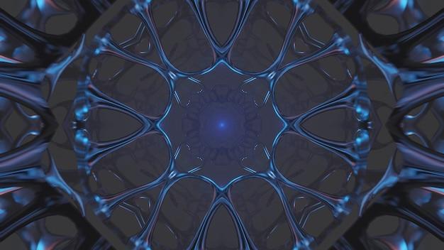 Ilustracja fajnych kształtów geometrycznych z neonowymi światłami laserowymi - idealne na tło