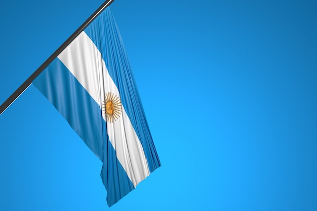 Ilustracja flagi narodowej argentyny na maszt metalowy fruwające na tle błękitnego nieba