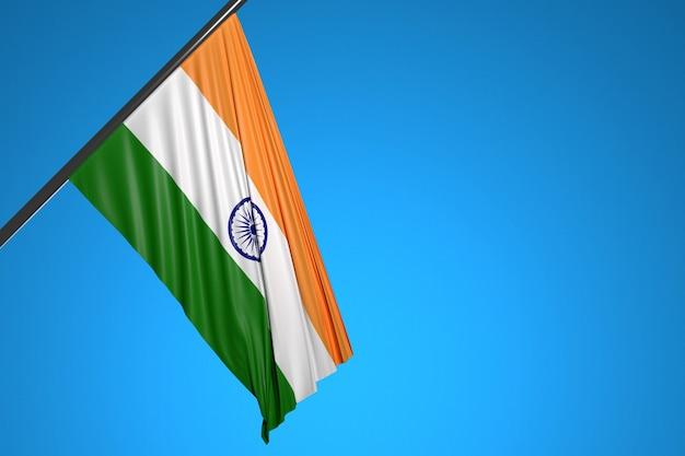 Ilustracja flagi narodowej indii na maszt metalowy fruwające na tle błękitnego nieba