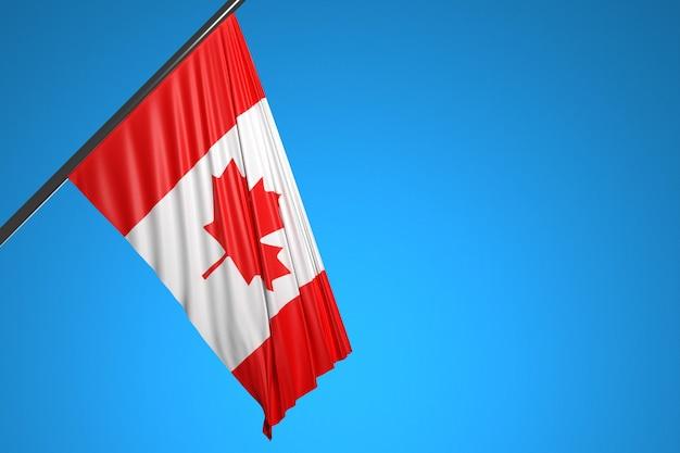 Ilustracja flagi narodowej kanady na maszt metalowy fruwające na tle błękitnego nieba