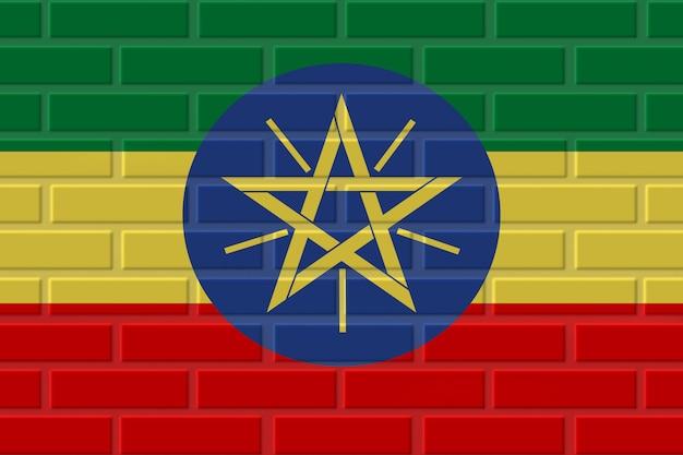 Ilustracja flagi z cegły etiopii