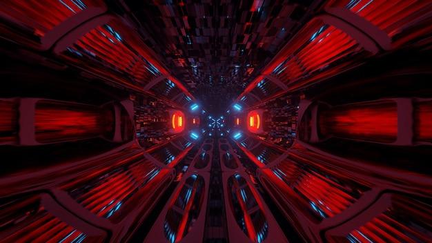 Ilustracja geometrycznych kształtów z kolorowymi światłami laserowymi