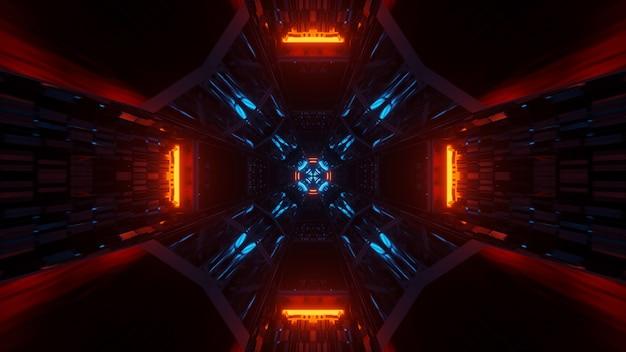 Ilustracja geometrycznych kształtów z neonowymi światłami laserowymi