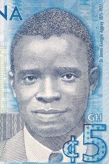Ilustracja jamesa emmana kwegyira aggreya z ghańskich pieniędzy