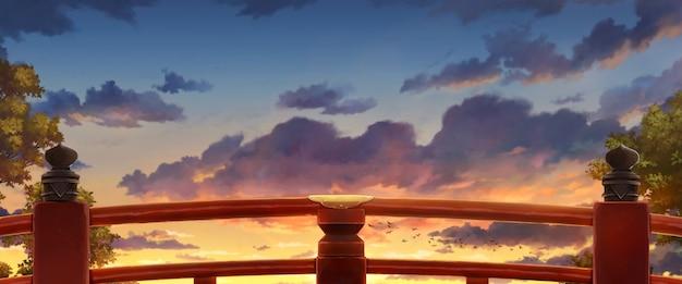 Ilustracja japoński czerwony most z popołudniowym światłem słonecznym