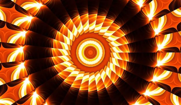 Ilustracja jasny fraktalny kalejdoskop flar i słońca ze spiralami.