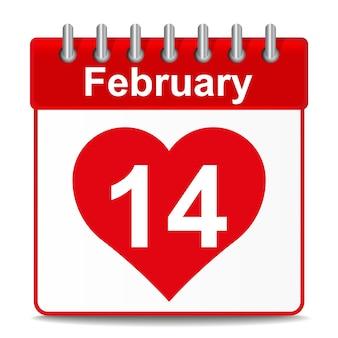 Ilustracja kalendarza na walentynki z czerwonym sercem na białym tle