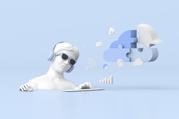 Ilustracja kobiet korzysta z przetwarzania w chmurze, renderowania 3d.