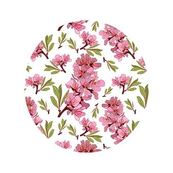 Ilustracja kolor ręcznie rysowane kwiaty migdałowe. szkic tła w kolorze różowym.
