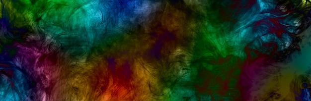 Ilustracja kolorowy dym, abstrakcyjny obraz panoramiczny