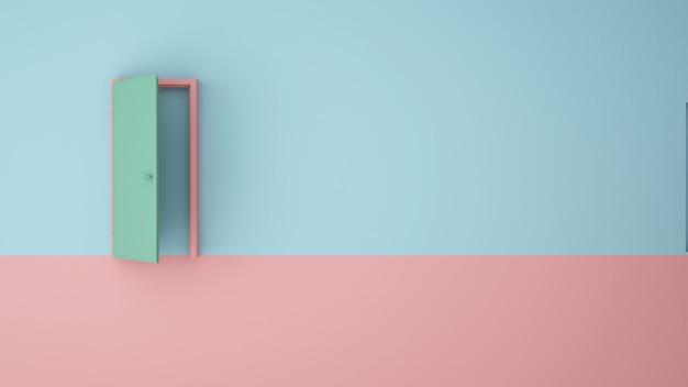 Ilustracja koncepcja sztuki papieru drzwi pastelowe kolor tła - 3d renderowania