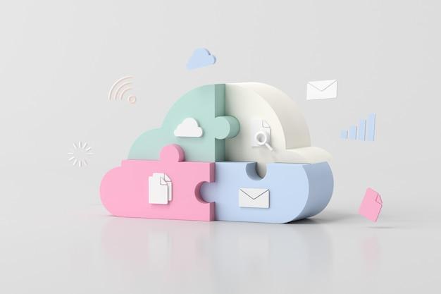 Ilustracja koncepcji cloud computing, kawałki puzzli, renderowanie 3d.