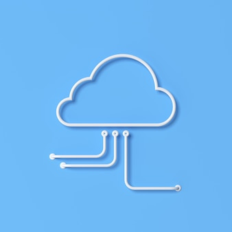Ilustracja koncepcji cloud computing, styl konturu. renderowania 3d.