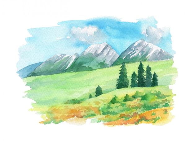 Ilustracja krajobraz z alpami szwajcarskimi i kwiatami na zielonej trawie.