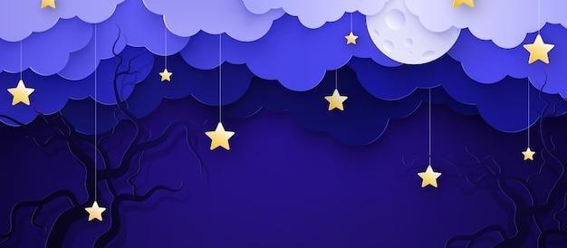 Ilustracja kreskówka dziecinne tło z chmurami i gwiazdami na sznurkach