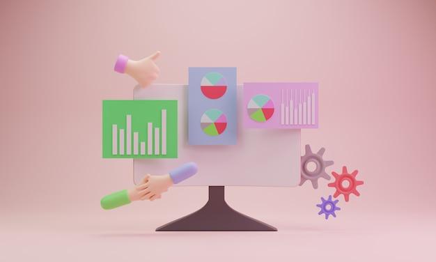 Ilustracja laptopa 3d projekt social media biznes koncepcja