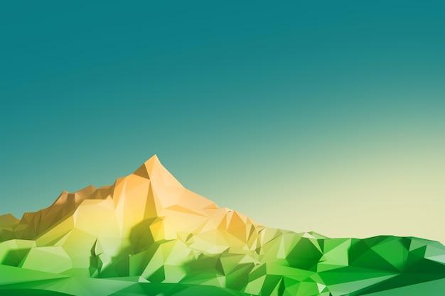 Ilustracja low poly z wizerunkiem wysokich gór na tle nieba. ilustracja 3d