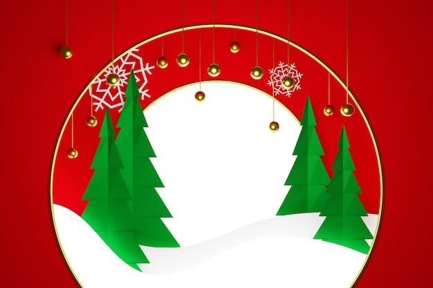 Ilustracja magia drzew iglastych w zimowym lesie z okrągłą ramką na czerwonym tle