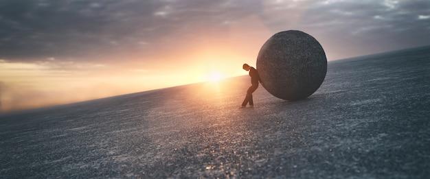 Ilustracja mężczyzny utrzymującego betonową piłkę, renderowania 3d