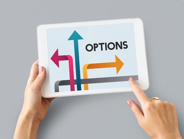 Ilustracja możliwości w punkcie zwrotnym do zmiany na cyfrowym tablecie