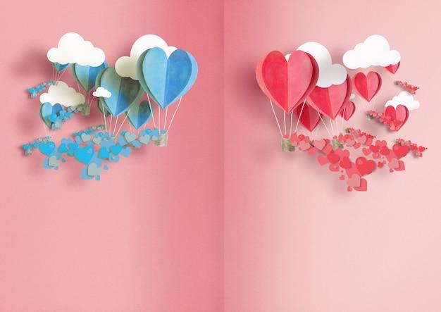 Ilustracja na dzień wszystkich kochanków. balony w kolorze niebieskim i różowym są rozrzucone wokół małych serc.