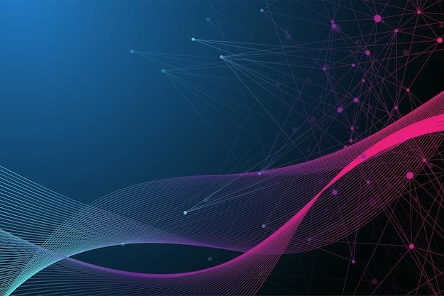 Ilustracja naukowa koncepcja inżynierii genetycznej i manipulacji genami. helisa dna, nić dna, cząsteczka lub atom, neurony. abstrakcyjna struktura dla nauki lub wykształcenie medyczne.